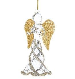 Kurt Adler Glass Angel w Gold Wings Christmas Ornament Holding Star