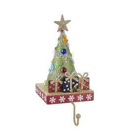 Kurt Adler Christmas Tree Stocking Holder Tree w Gifts and Gold Hanger