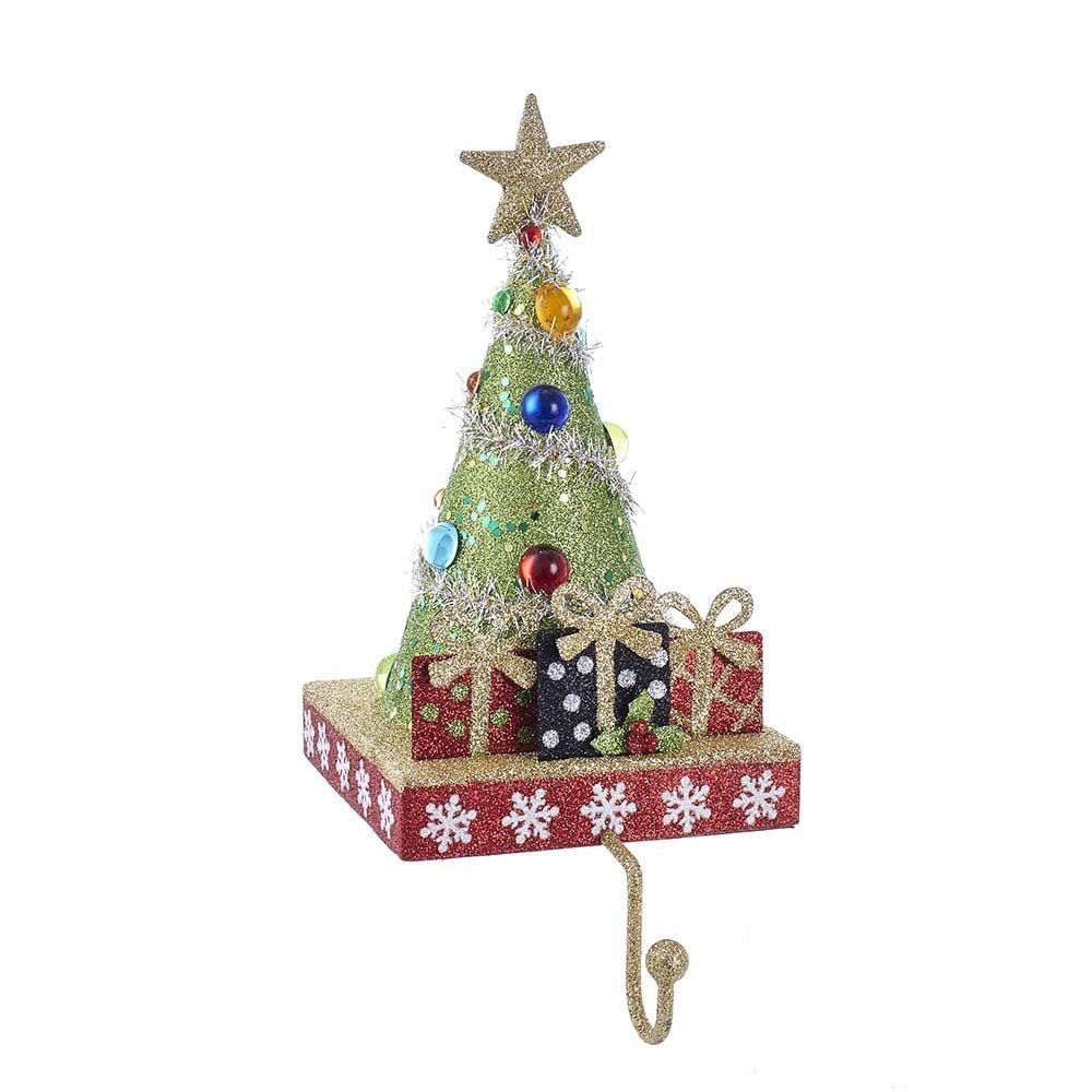 Christmas Tree Stocking Holder.Kurt Adler Christmas Tree Stocking Holder Tree W Gifts And Gold Hanger