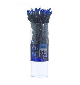 Kurt Adler Christmas 50 Light String Set 5MM Wide Angle LED Blue
