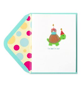 Papyrus Greetings Belated Birthday Card Handmade Late Turtle w Cupcake
