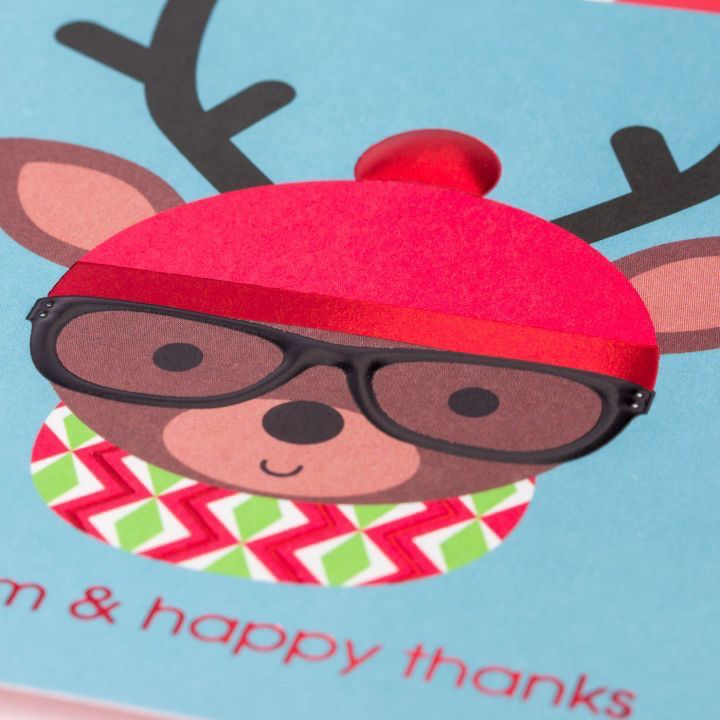 PAPYRUS® Boxed Christmas Cards Hipster Deer w Hat Glasses 12pk