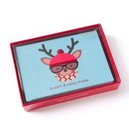 Papyrus Greetings Boxed Christmas Cards Hipster Deer w Hat Glasses 12pk