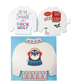 DM Merchandising Ugly Sweater Musical Christmas Card Gift Card Holder- Penguin