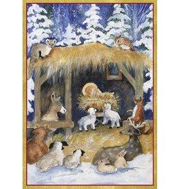 Caspari Boxed Christmas Cards 16pk Woodland Creche