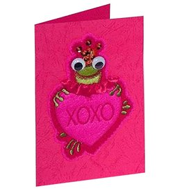 Katherine's Collection Valentine's Card Frog Holding Heart with XOXO
