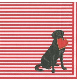 Caspari Paper Coctail Beverage Napkins 20pk Puppy Love Lab w Heart