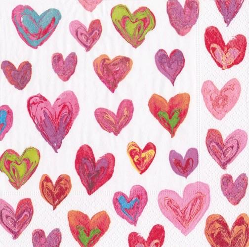 Caspari Paper Luncheon Napkins 20pk Happy Hearts