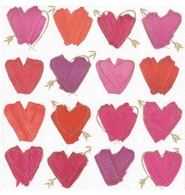 Caspari Paper Cocktail Beverage Napkins 20pk Hearts and Arrows