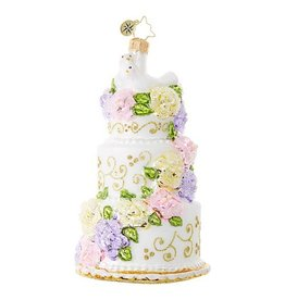 Christopher Radko Ornament Newlywed Sweets Wedding Cake Just Married