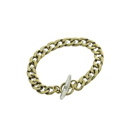 Waxing Poetic® Jewelry Boat Cleat Chain Bracelet Mens LG -Brass-Sterling Silver