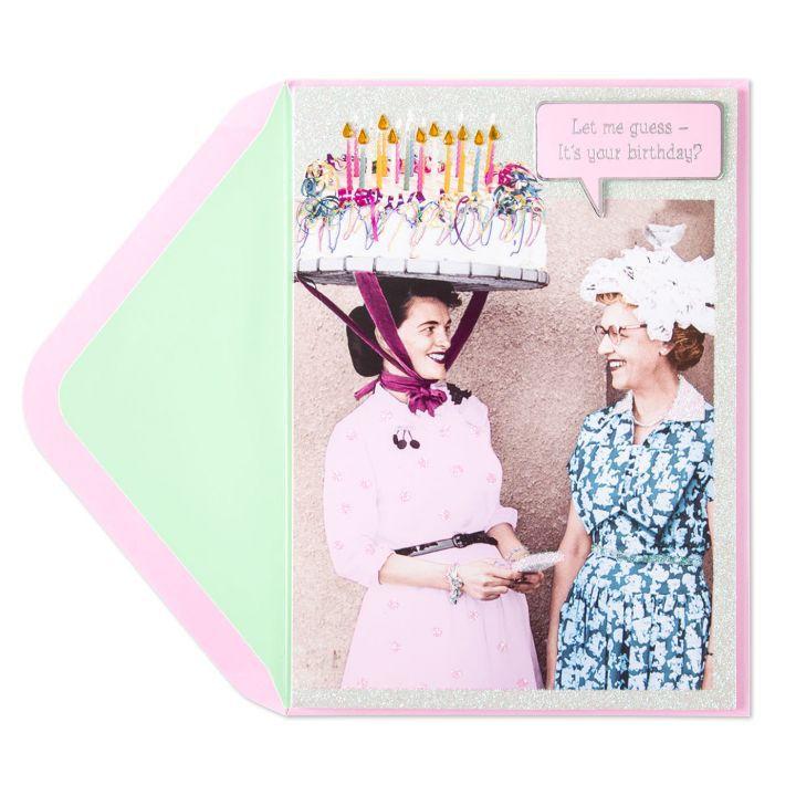 Birthday Card Cake Hat Lady