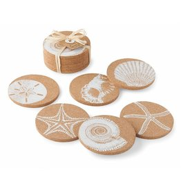 Mud Pie Cork Coasters Set of 6 with Shell Prints