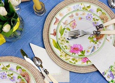 Spring Easter Paper Napkins Plates