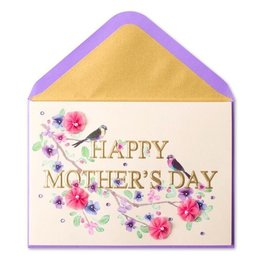PAPYRUS® Mothers Day Card Elegant Letters Birds Flowers on Branch