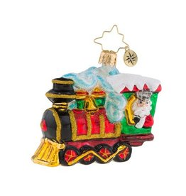 Christopher Radko Christmas Ornament Little Gem Santa Train All Aboard