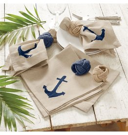 Mud Pie Natural Chambray Dinner Napkins w Navy Anchor