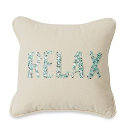 Mud Pie Beaded Piped Canvas Pillow 13x13 with Relax