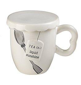 Mud Pie Covered Tea Mug w Spoon Set - Liquid Sunshiine Hot-Tea