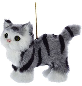 Kurt Adler Christmas Ornament Plush Cat Grey Stripe 4 inch