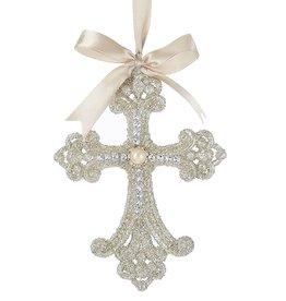 Kurt Adler Vintage Glamour Platinum Glitter Cross Ornament -B