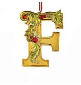 Kurt Adler Gold Initial Ornament w Holly on Red Ribbon Hanger Letter F