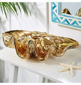 Twos Company Electroplated Gold Shell Decorative Clam Bowl 19x11