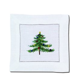 Peking Handicraft Christmas Linen Cocktail Napkins Embroidered Tree