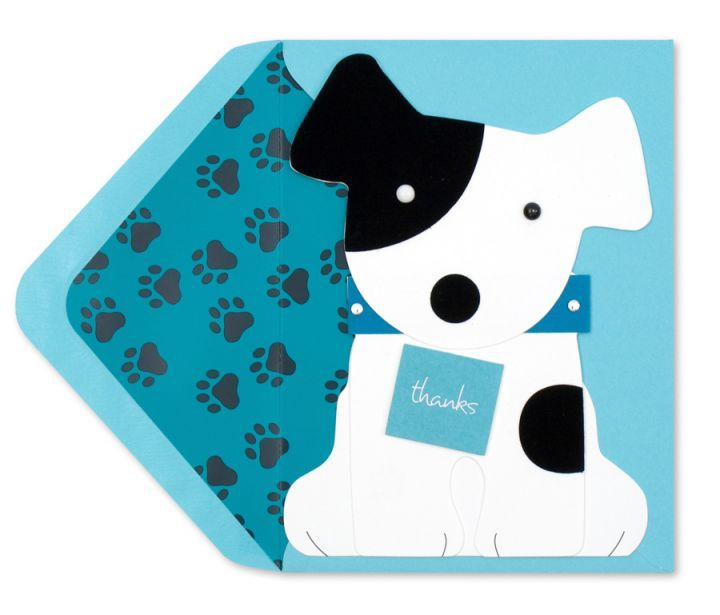 Papyrus Greetings Thank You Card Dog Holding Thank You Sign