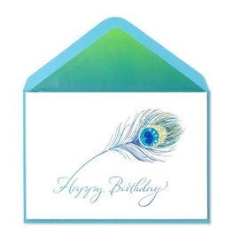 Papyrus Greetings Birthday Card Glittery Peacock Feather with Gems