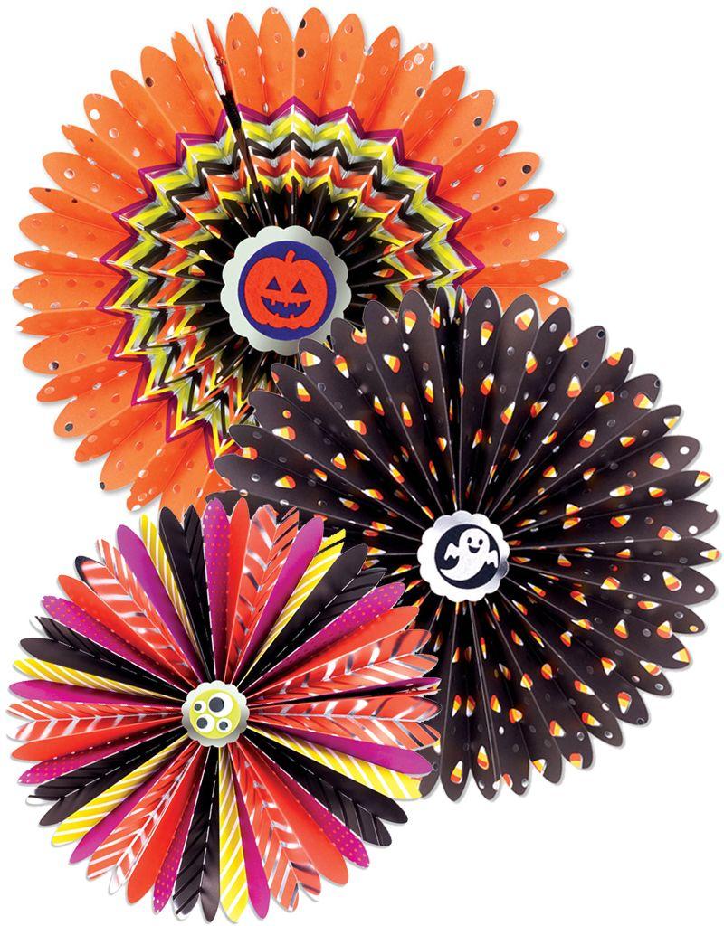 Papyrus Halloween Decorative Fans 3pc Hanging Paper Rosettes Set