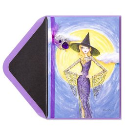 Papyrus Greetings Halloween Card Fashion Witch w Spider Pendant