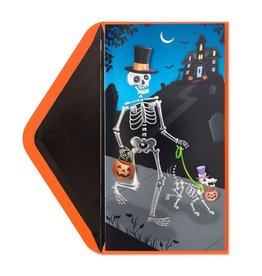 Papyrus Greetings Halloween Card Dog and Owner Skeletons Trick or Treating