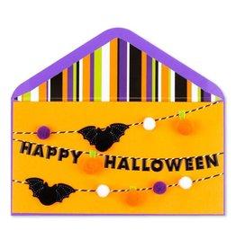 Papyrus Greetings Halloween Card w Happy Halloween Bats Pom Pom
