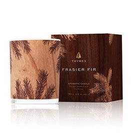 Thymes Frasier Fir Poured Candle 6.5oz Glass w Northwoods Design