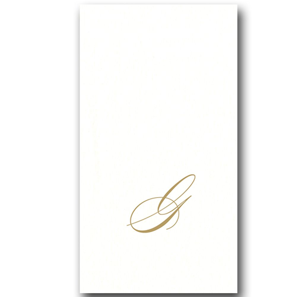 Caspari Paper Linen Airlaid Initial G White Pearl Guest Napkins 24pk