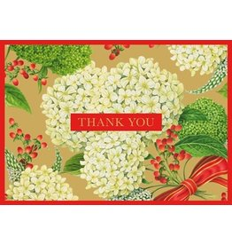 Caspari Thank You Note Cards Christmas Snowball Hydrangeas Gold 8pk