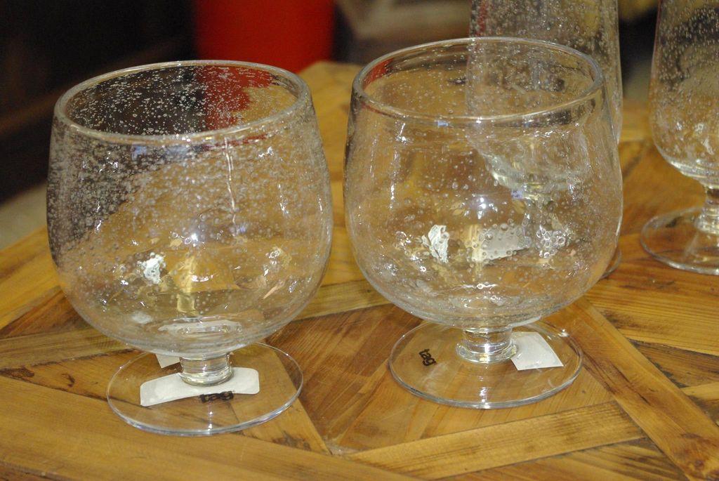 Set Of 2 Large Bubble Glass Goblets Clear Davis Designs