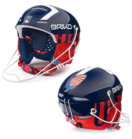 BRIKO BRIKO SKI HELMET SLALOM BLUE WHITE RED USA