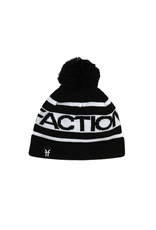 FACTION FACTION BEANIE LOGO POM POM BEANIE BLACK WHITE OS