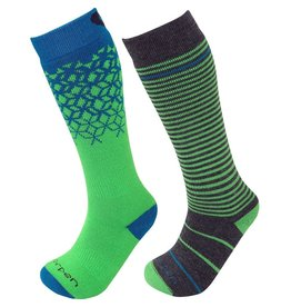 LORPEN SKI SOCK KIDS T2 MERINO 2 PAIR GREEN