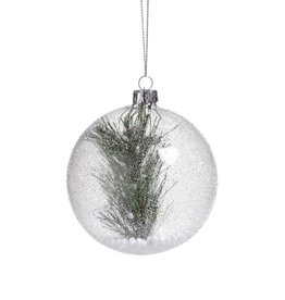 Zodax CLEAR BEADED RND ORNAMENT W/PINE NEEDLE