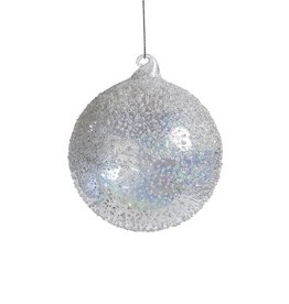 Zodax WHITE LUSTER BEADED ORNAMENT- MED