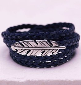 Canoe Braided Antique Gold Feather Wrap - Nat. Blue