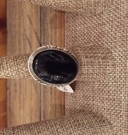 Peter Wood Sterling Silver Ring - Large Onyx