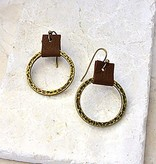 Canoe Earrings - Antique Gold Circle & Leather