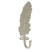 Homart Feather Wall Hook- Cast Iron- White
