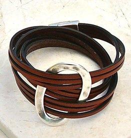 Canoe Bracelet - Silver Oval Wrap - Brown