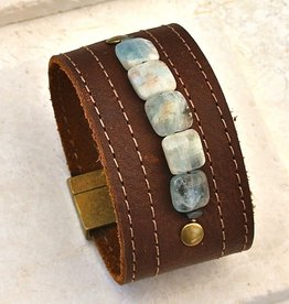 Canoe Wide Leather Cuff w/Amazonite