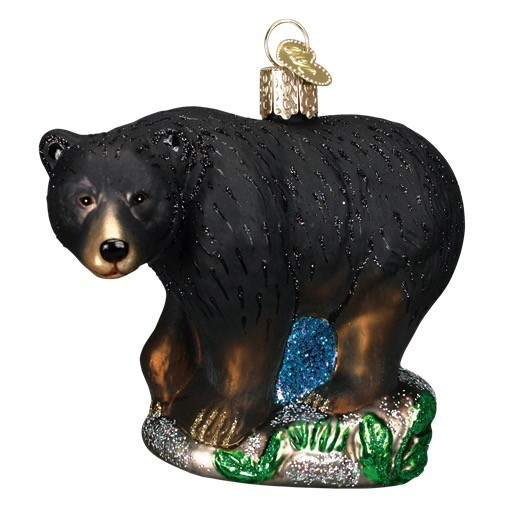 Old World Christmas Black Bear Glass Ornament